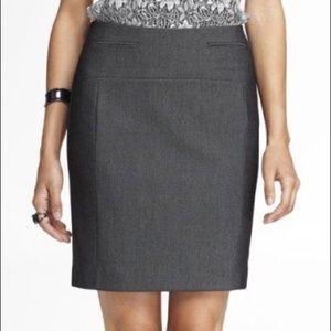 Express Gray Seamed Pencil Skirt